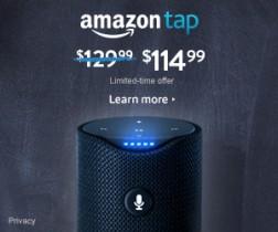 $15 Off Amazon Tap – Alexa-Enabled Portable Bluetooth Speaker thru 8/27