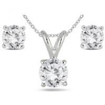 82% Off 5/8 CARAT T.W DIAMOND PENDANT AND EARRING SET IN 14K WHITE GOLD (H-I COLOR, SI1-SI2 CLARITY) $219