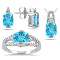 5.75 Carat Swiss Blue Topaz and Diamond Matching Jewelry Set in Solid Sterling Silver – $29 Weekend Blowout + Free Shipping
