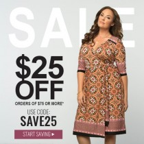 $25 off orders $75+ at Kiyonna with Coupon Code