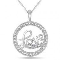 Valentine's Day Diamond Love Pendant Set in .925 Sterling Silver – $19 + Free Shipping