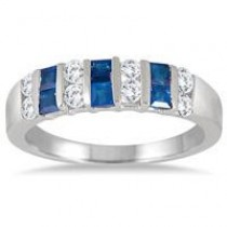 90% off SAPPHIRE AND WHITE TOPAZ RING in Solid .925 Sterling Silver $29 Shipped