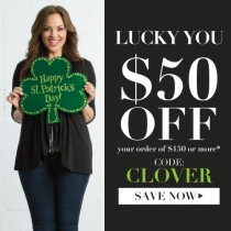 Lucky You! TAKE $50 off $150 or more at Kiyonna.com w/ St. Patrick's Day Coupon