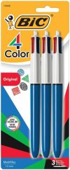 BIC 4-Color Ball Pen, Medium Point (1.0mm), Assorted Ink, 3-Count $4.54