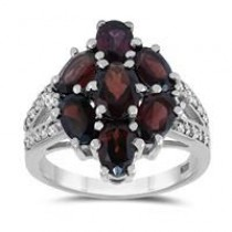 Garnet and White Topaz Cocktail Ring in .925 Sterling Silver – $18.49 + Free Shipping