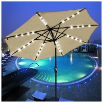 $139.91 off 9′ Patio Umbrella w/ 32 Solar Powered LEDs -$49.99 with Free Shipping