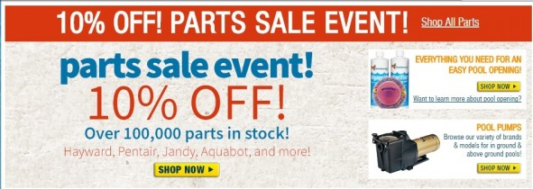 Pool & Spa Parts 10% off